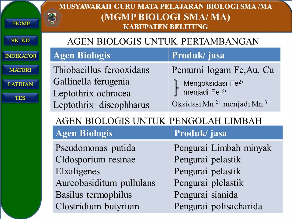 AGEN BIOLOGIS UNTUK PERTAMBANGAN Agen Biologis Produk/ jasa