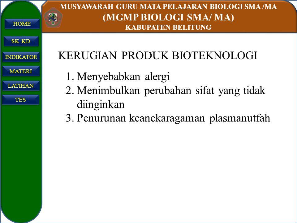 KERUGIAN PRODUK BIOTEKNOLOGI