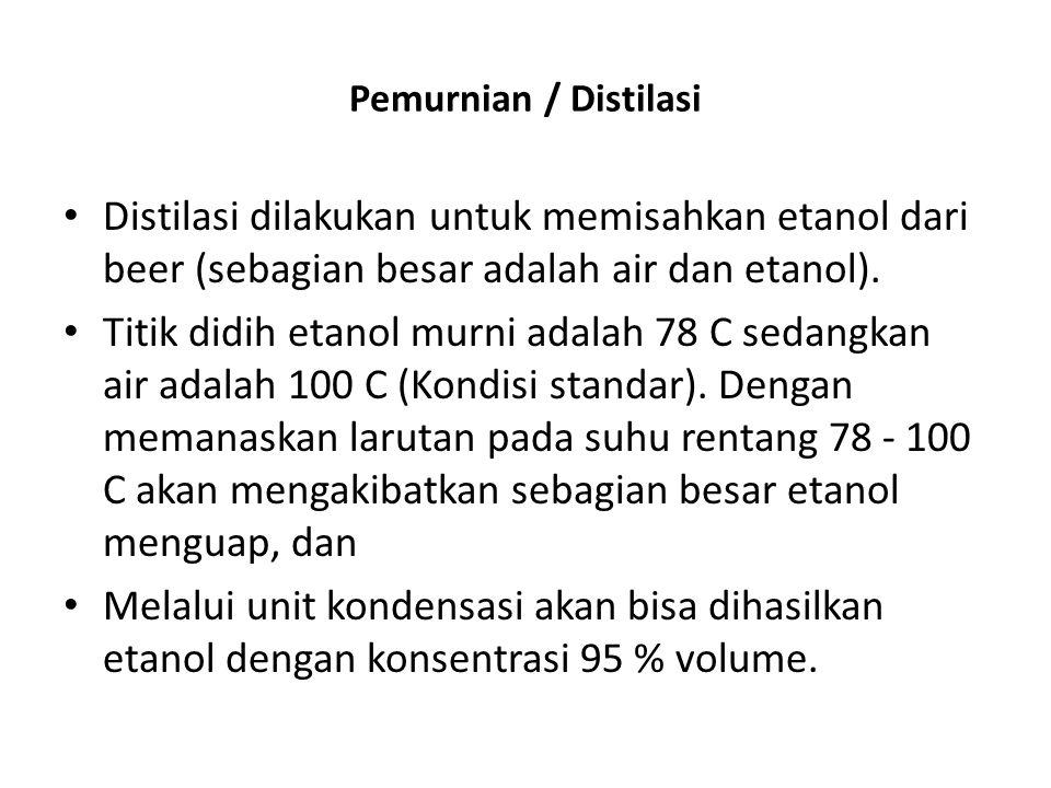 Pemurnian / Distilasi Distilasi dilakukan untuk memisahkan etanol dari beer (sebagian besar adalah air dan etanol).