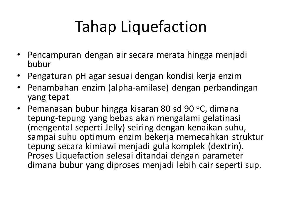 Tahap Liquefaction Pencampuran dengan air secara merata hingga menjadi bubur. Pengaturan pH agar sesuai dengan kondisi kerja enzim.