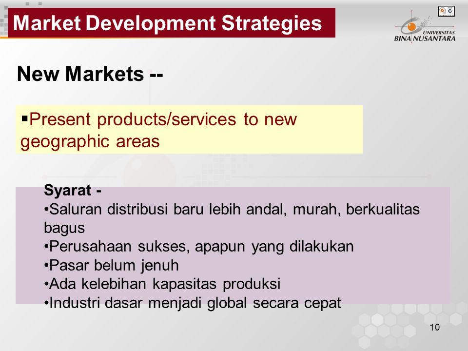 Market Development Strategies