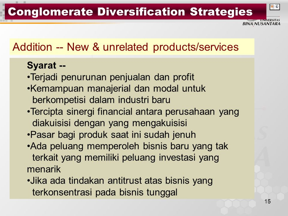 Conglomerate Diversification Strategies