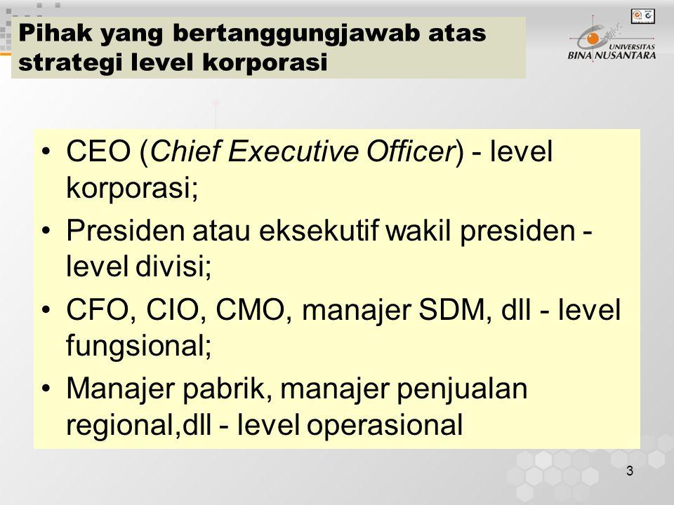 Pihak yang bertanggungjawab atas strategi level korporasi