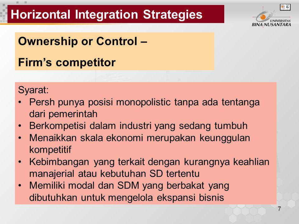 Horizontal Integration Strategies
