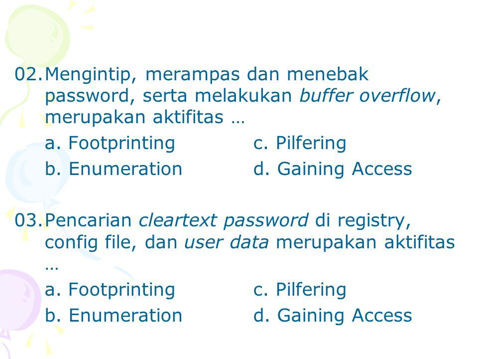 02. Mengintip, merampas dan menebak password, serta melakukan buffer overflow, merupakan aktifitas …