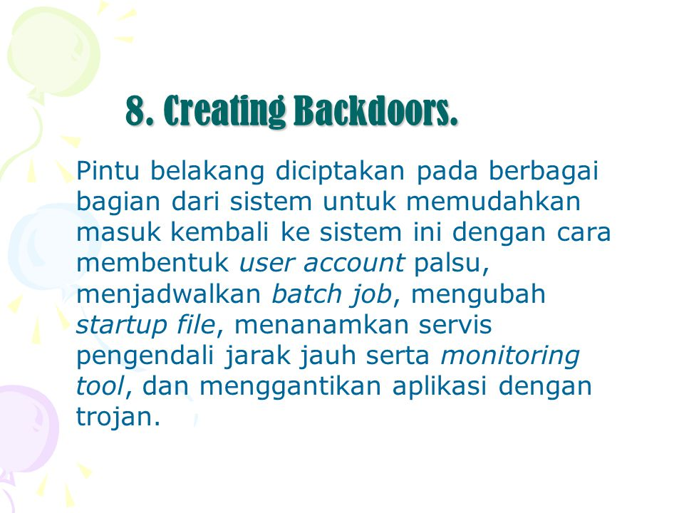 8. Creating Backdoors.