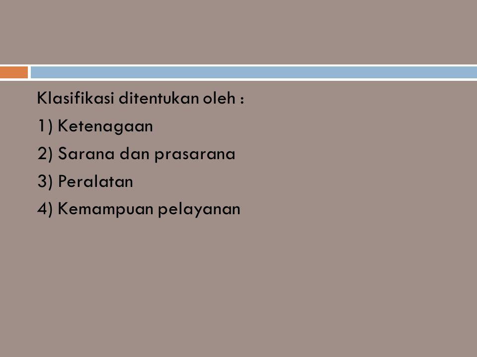 Klasifikasi ditentukan oleh :