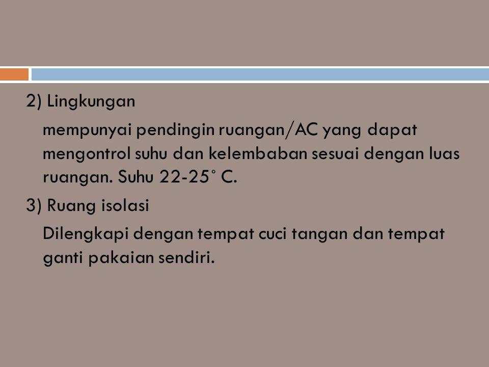 2) Lingkungan mempunyai pendingin ruangan/AC yang dapat mengontrol suhu dan kelembaban sesuai dengan luas ruangan.