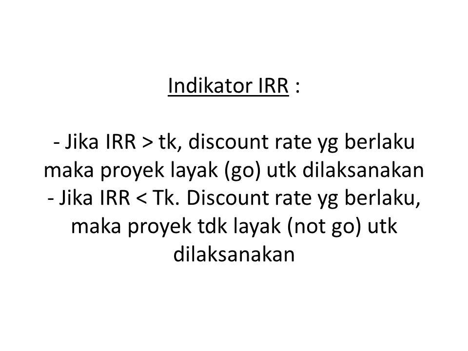 Indikator IRR : - Jika IRR > tk, discount rate yg berlaku maka proyek layak (go) utk dilaksanakan - Jika IRR < Tk.