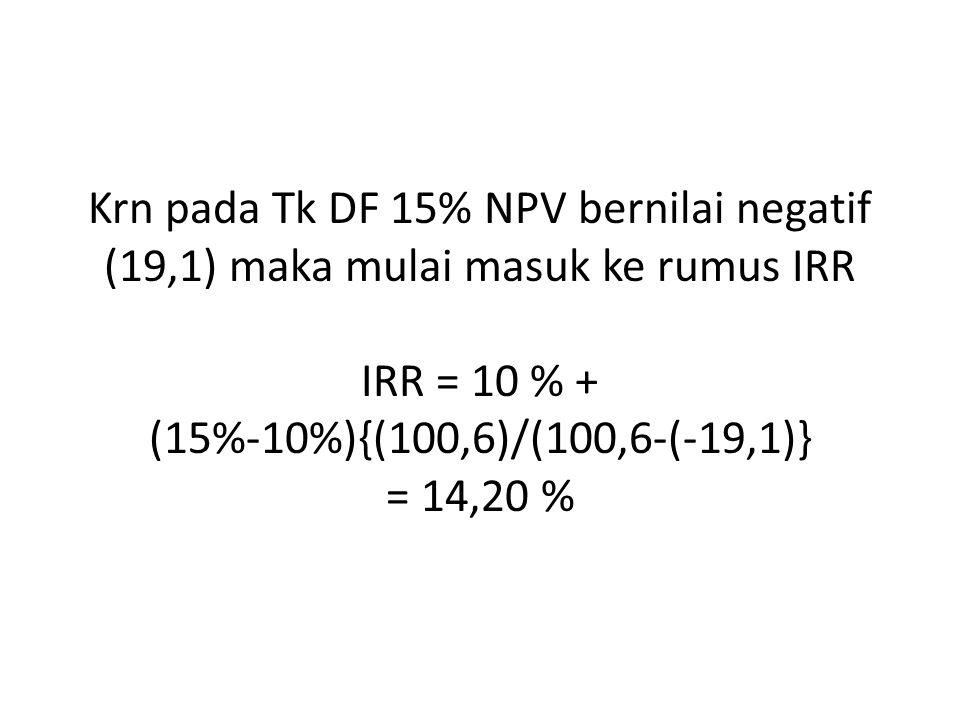 Krn pada Tk DF 15% NPV bernilai negatif (19,1) maka mulai masuk ke rumus IRR IRR = 10 % + (15%-10%){(100,6)/(100,6-(-19,1)} = 14,20 %
