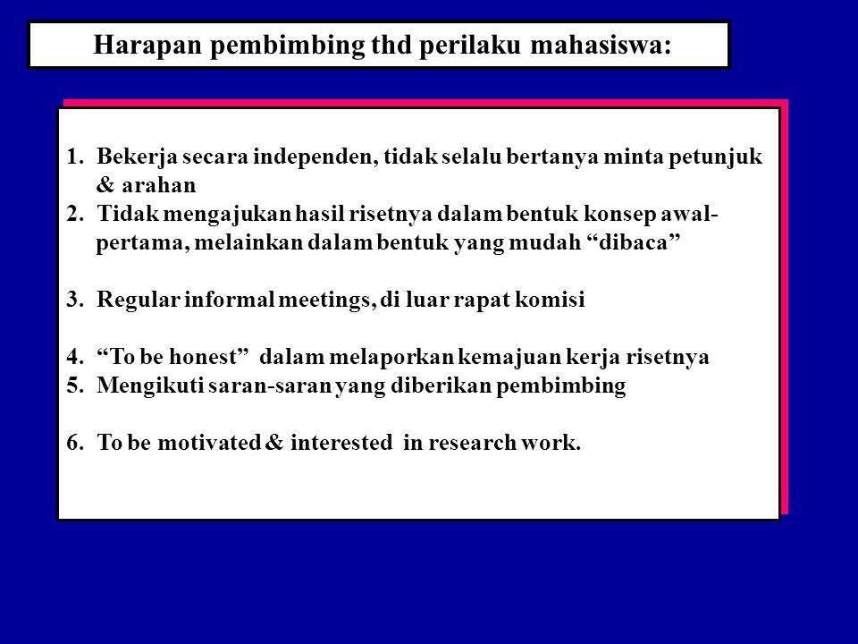 Harapan pembimbing thd perilaku mahasiswa: