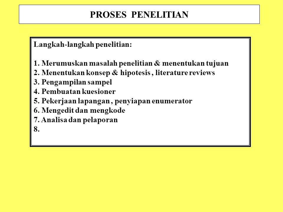 PROSES PENELITIAN Langkah-langkah penelitian: