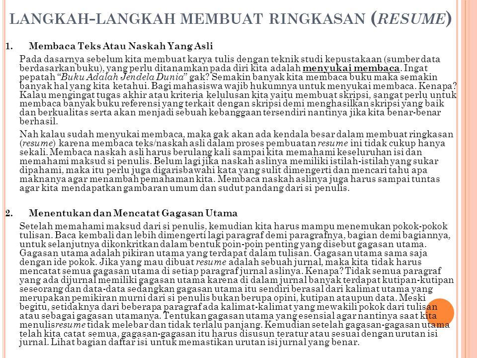 Abstrak, Resensi, Resume & Sipsosis KARYA ILMIAH - ppt ...