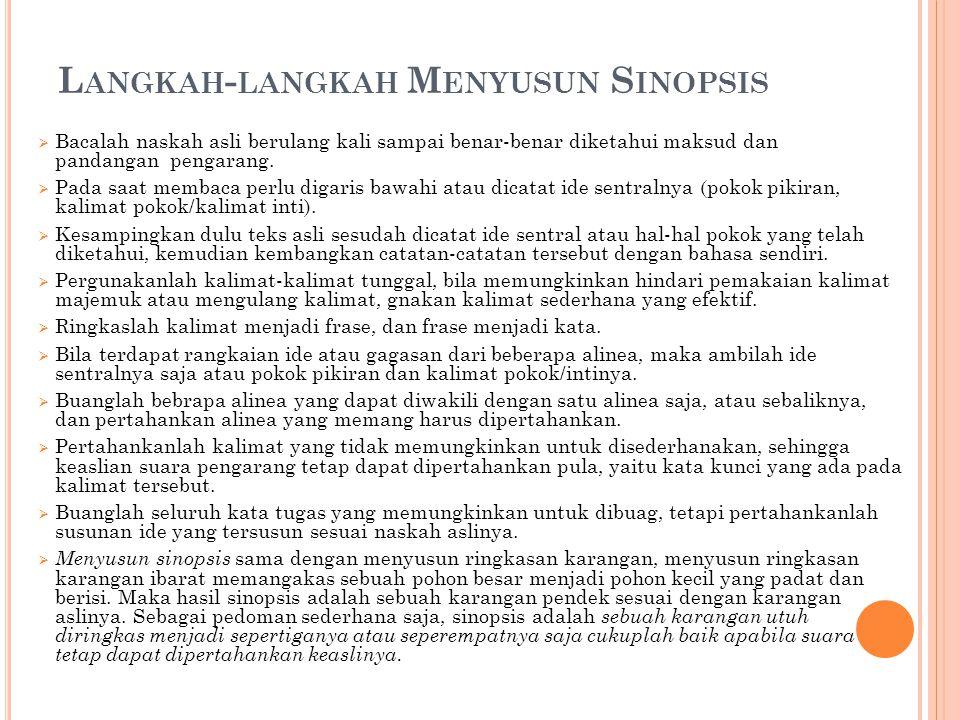 Langkah-langkah Menyusun Sinopsis