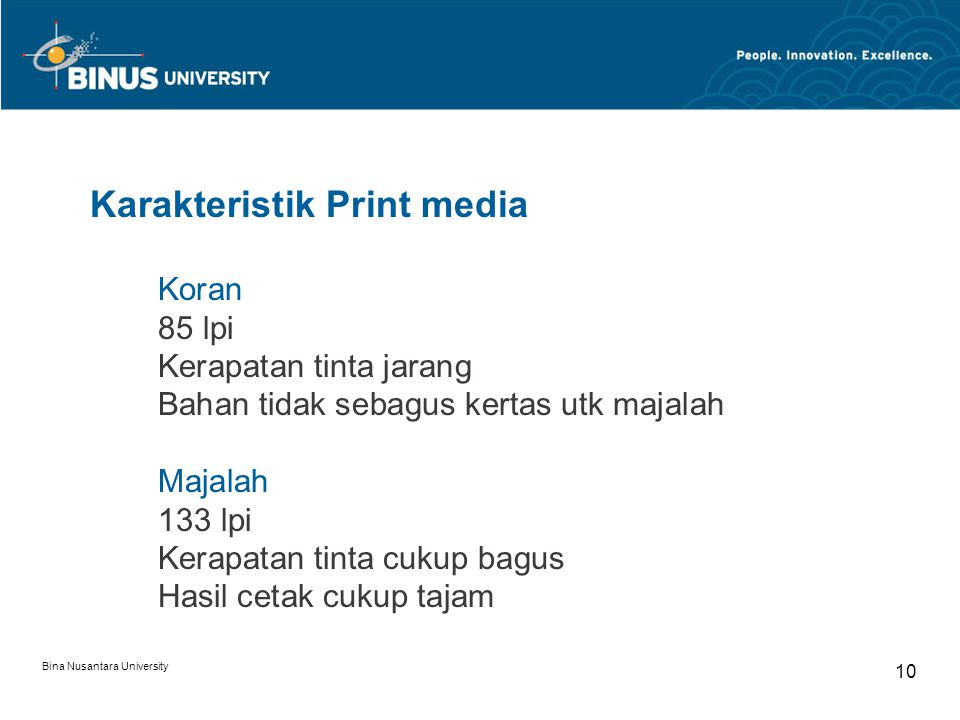 Karakteristik Print media