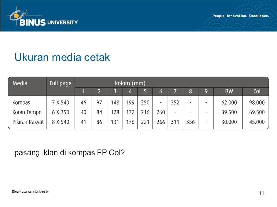Ukuran media cetak pasang iklan di kompas FP Col 11