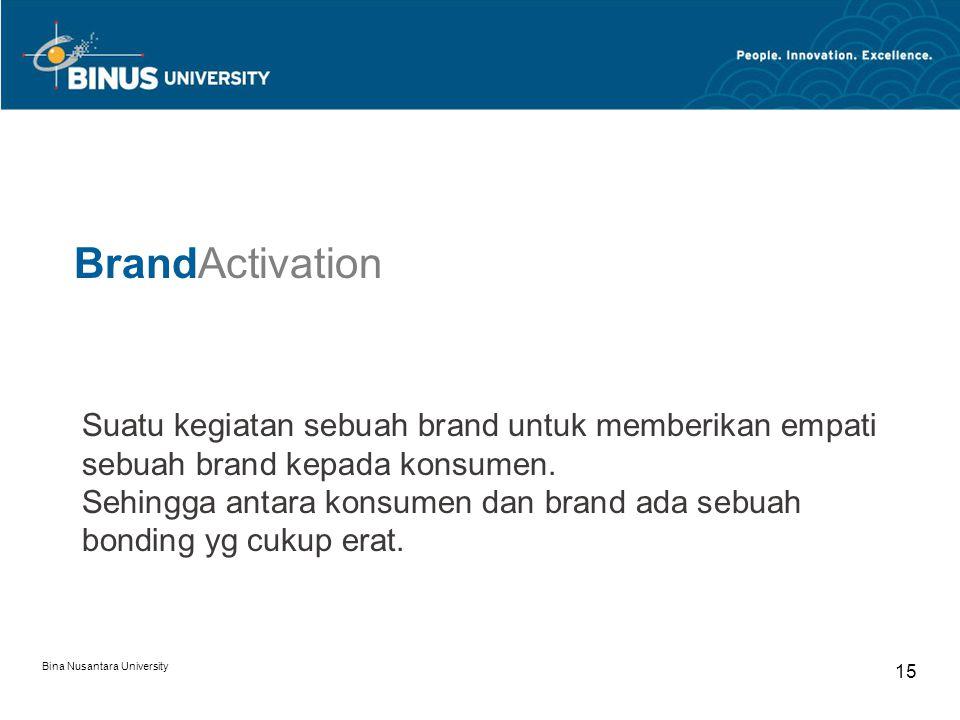 BrandActivation Suatu kegiatan sebuah brand untuk memberikan empati sebuah brand kepada konsumen.