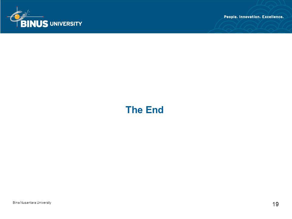 The End Bina Nusantara University 19