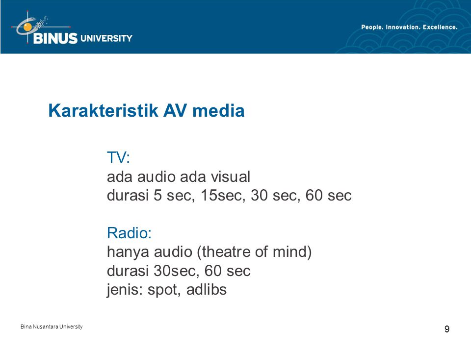 Karakteristik AV media