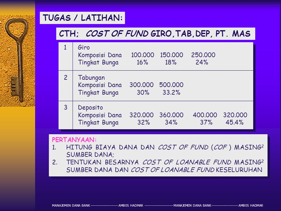 CTH; COST OF FUND GIRO,TAB,DEP, PT. MAS