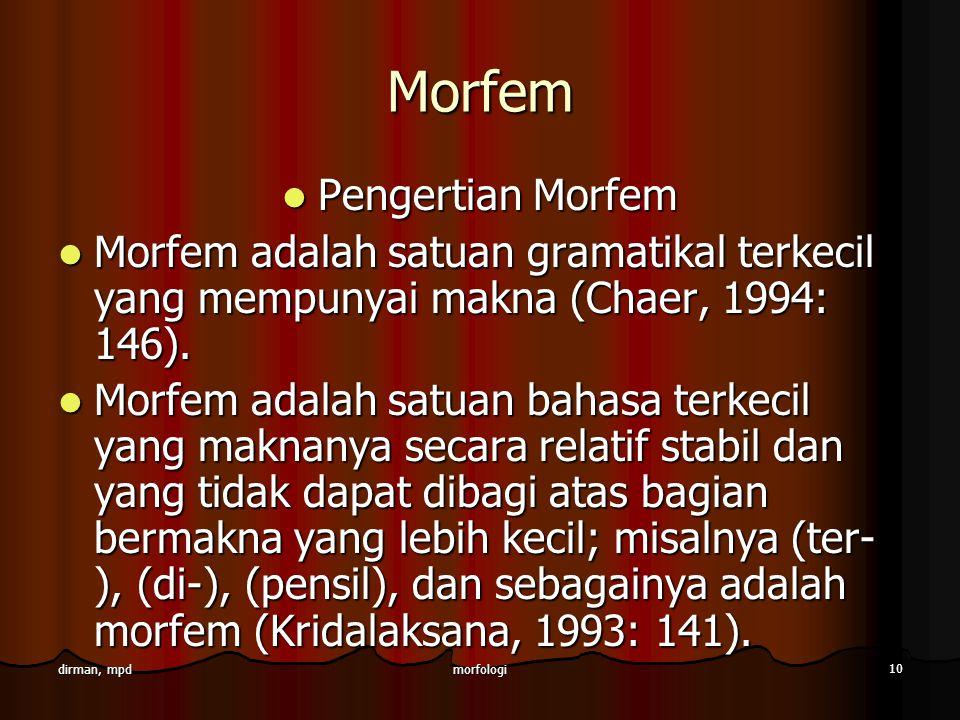 Morfem Pengertian Morfem