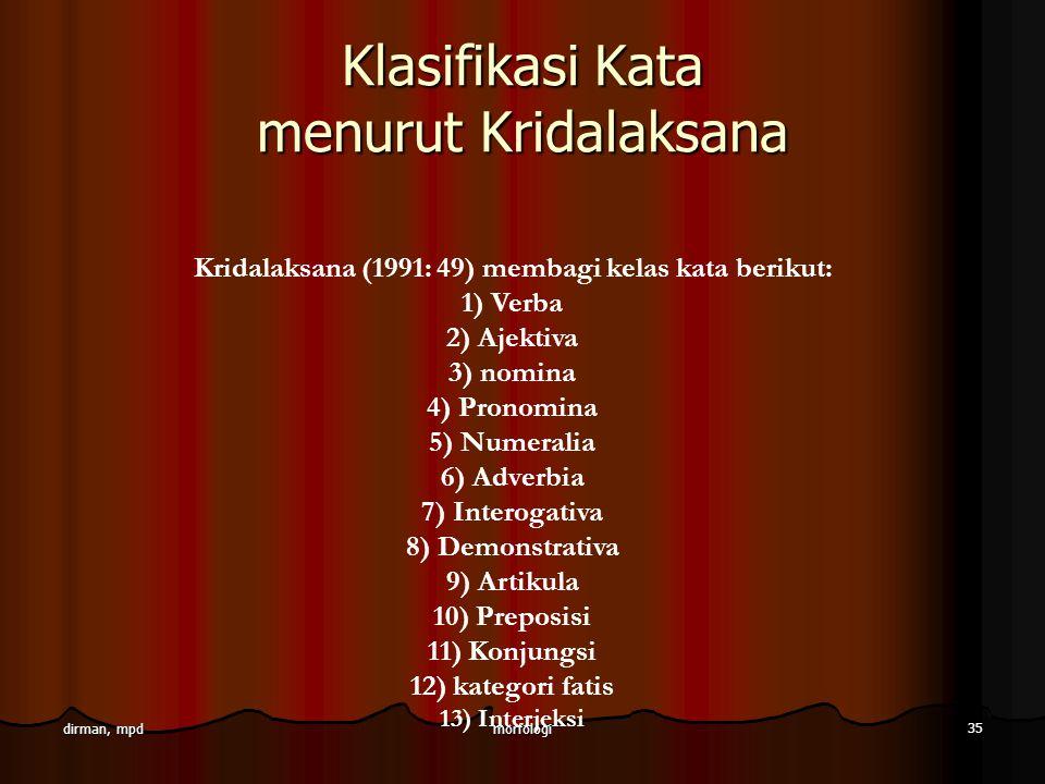 Klasifikasi Kata menurut Kridalaksana