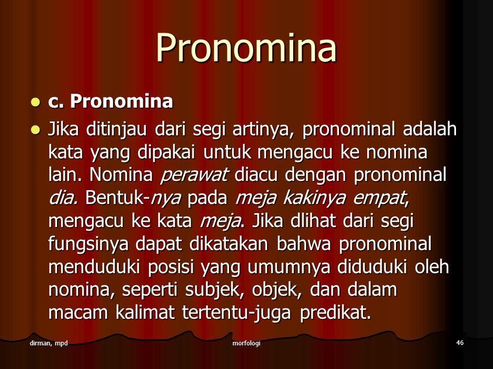 Pronomina c. Pronomina.