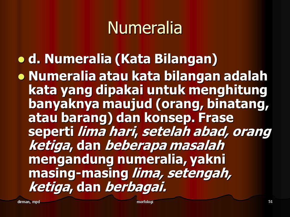 Numeralia d. Numeralia (Kata Bilangan)