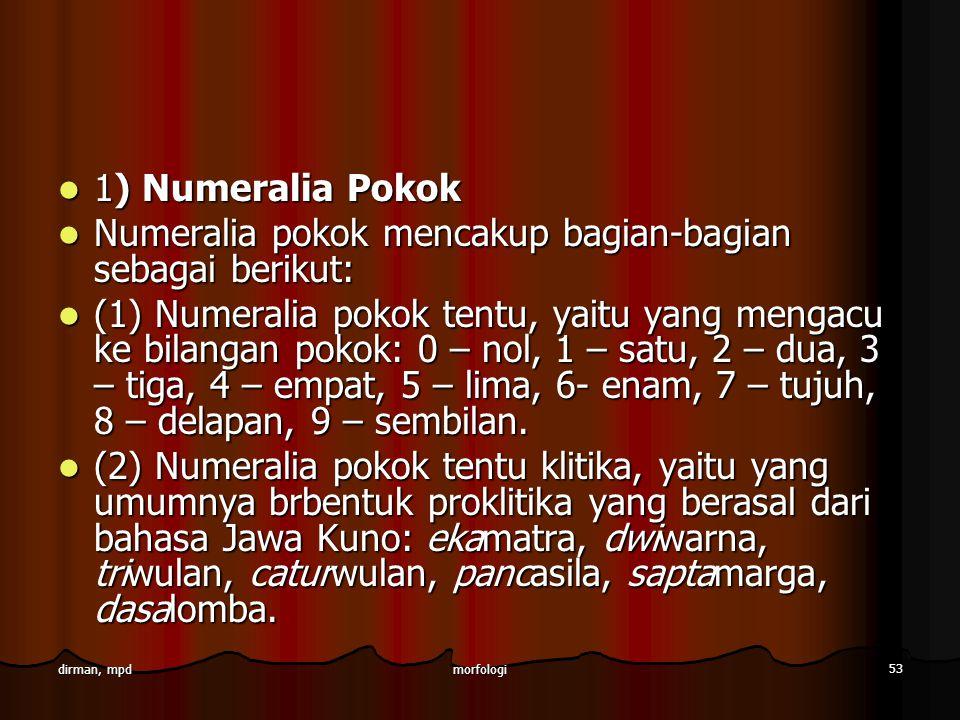 Numeralia pokok mencakup bagian-bagian sebagai berikut:
