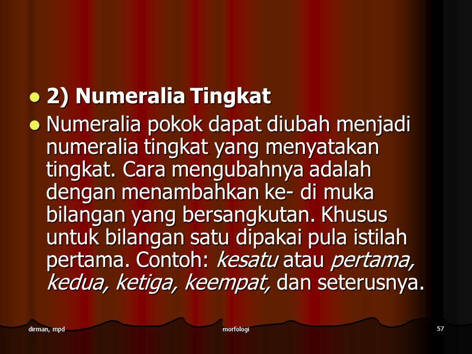2) Numeralia Tingkat
