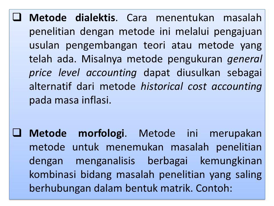 Metode dialektis. Cara menentukan masalah penelitian dengan metode ini melalui pengajuan usulan pengembangan teori atau metode yang telah ada. Misalnya metode pengukuran general price level accounting dapat diusulkan sebagai alternatif dari metode historical cost accounting pada masa inflasi.