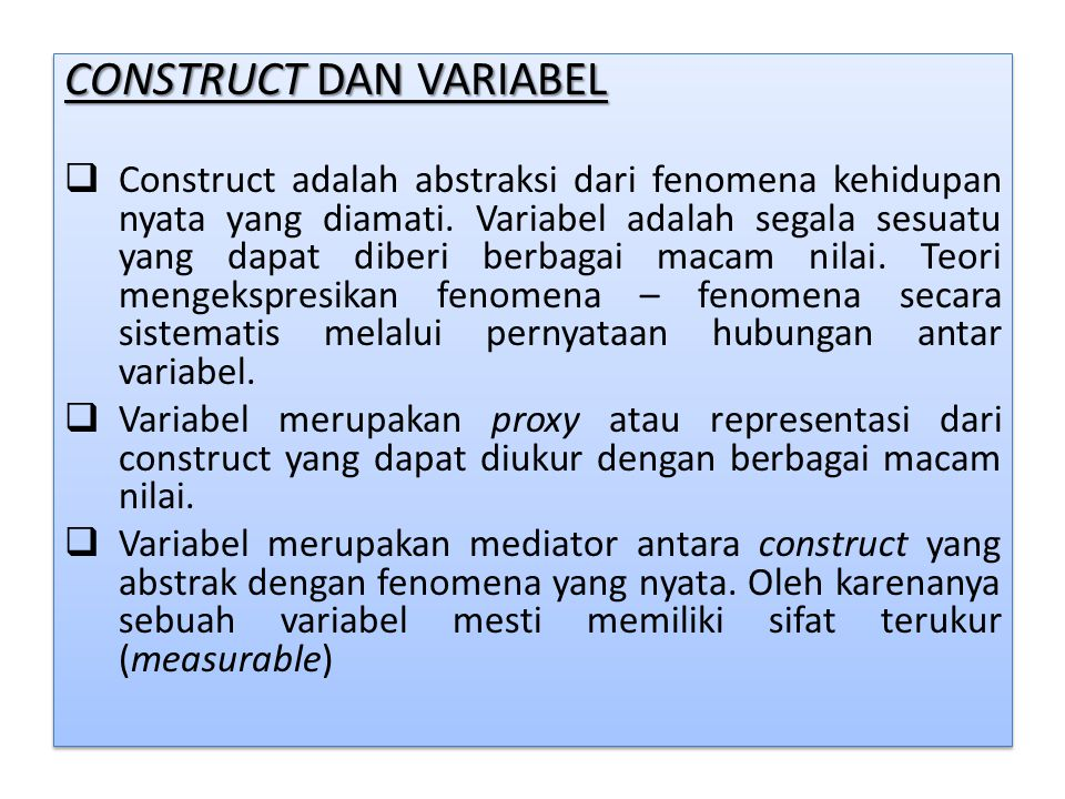 CONSTRUCT DAN VARIABEL