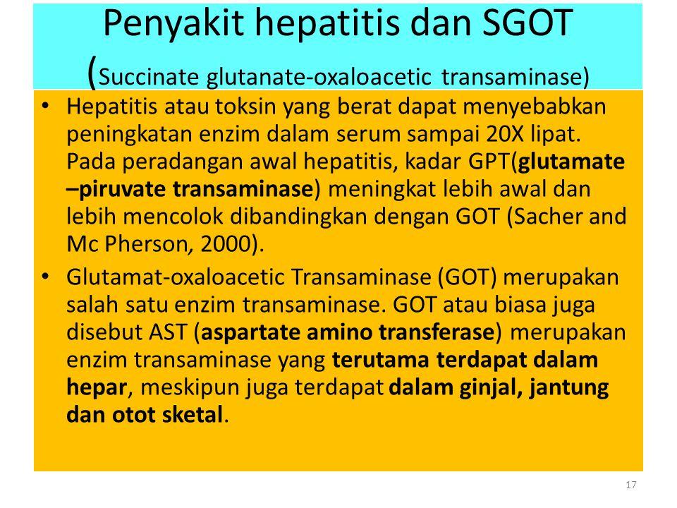 Penyakit hepatitis dan SGOT (Succinate glutanate-oxaloacetic transaminase)