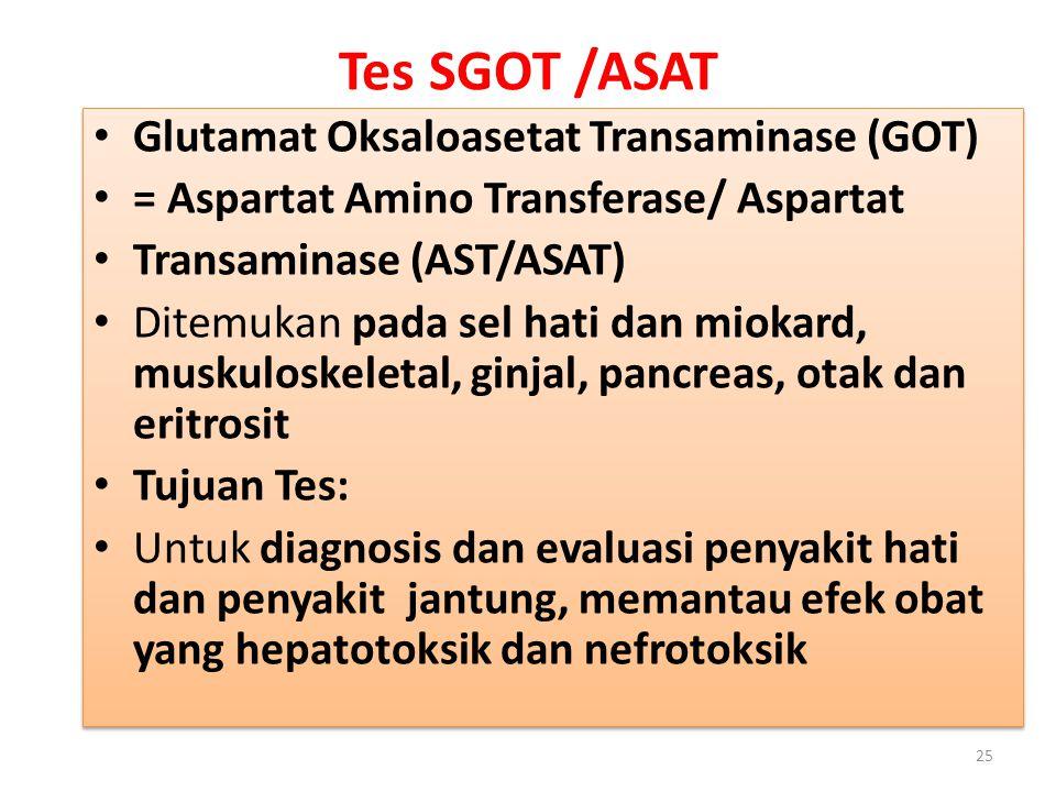 Tes SGOT /ASAT Glutamat Oksaloasetat Transaminase (GOT)
