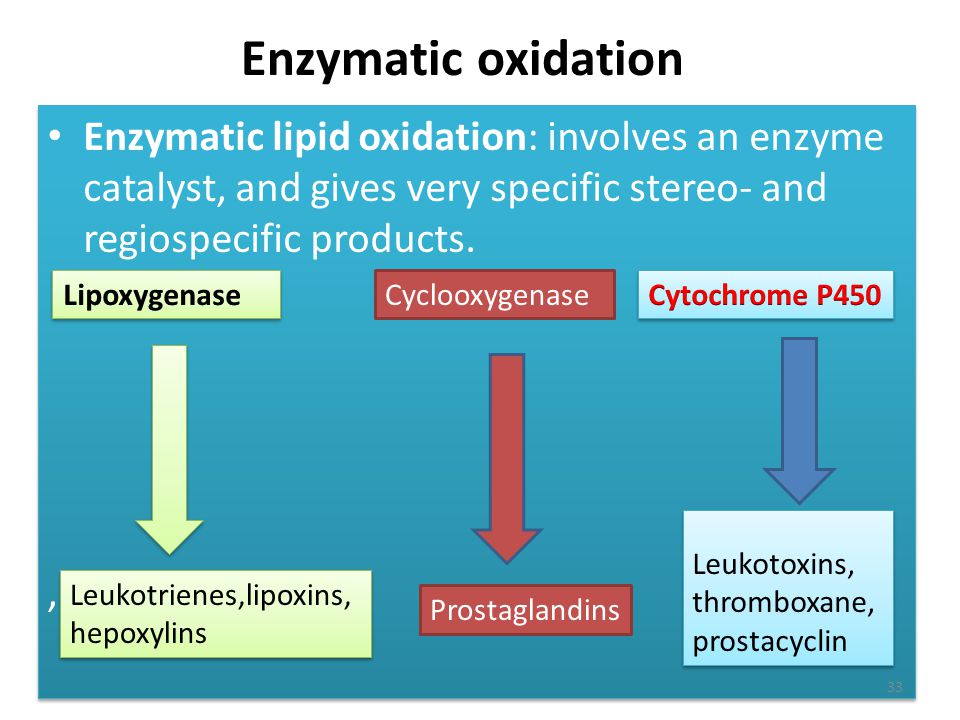 Enzymatic oxidation Enzymatic lipid oxidation: involves an enzyme catalyst, and gives very specific stereo- and regiospecific products.
