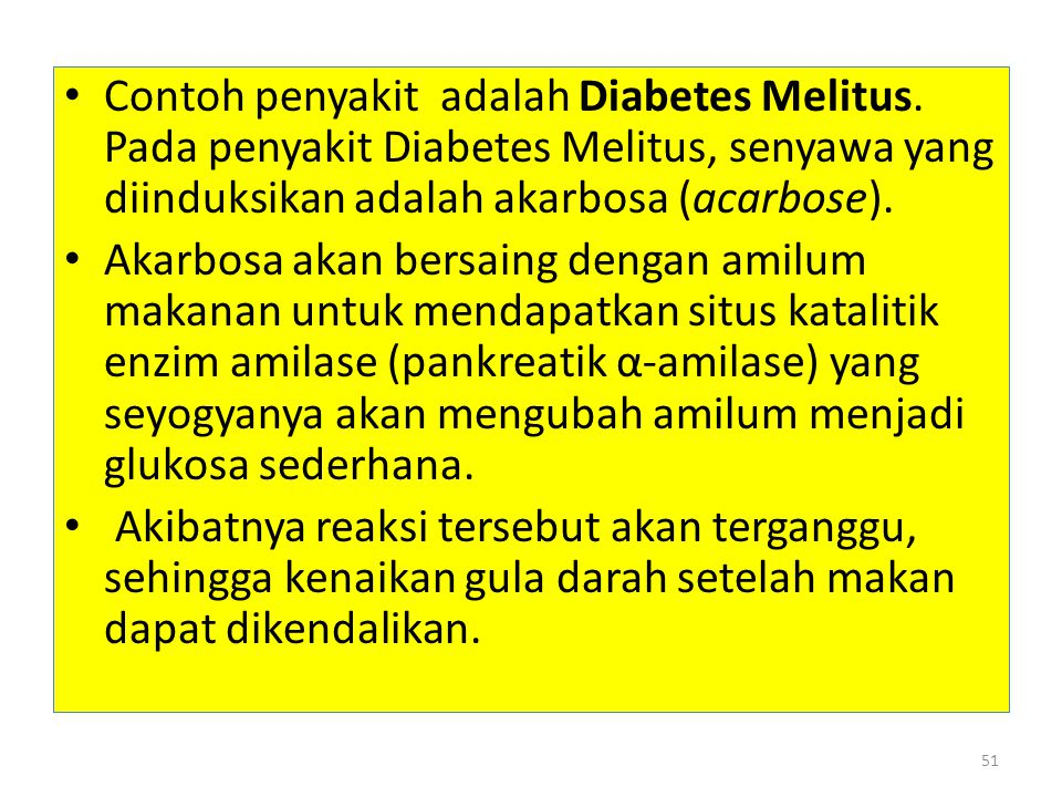 Contoh penyakit adalah Diabetes Melitus