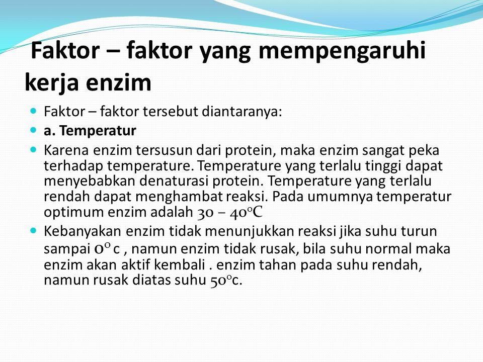 Faktor – faktor yang mempengaruhi kerja enzim