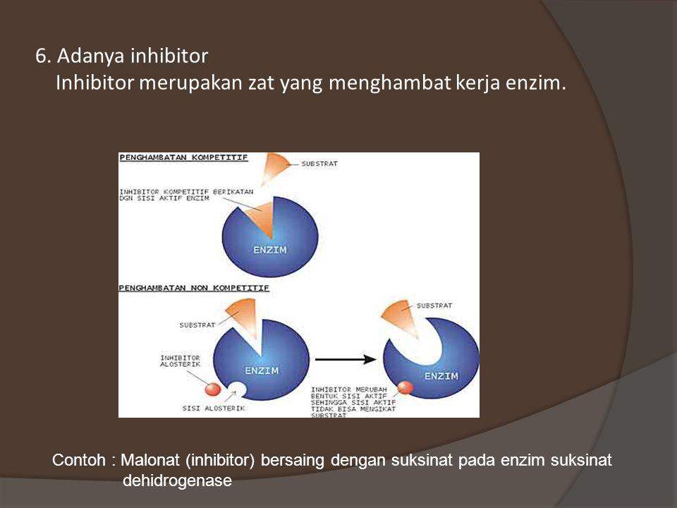6. Adanya inhibitor Inhibitor merupakan zat yang menghambat kerja enzim.