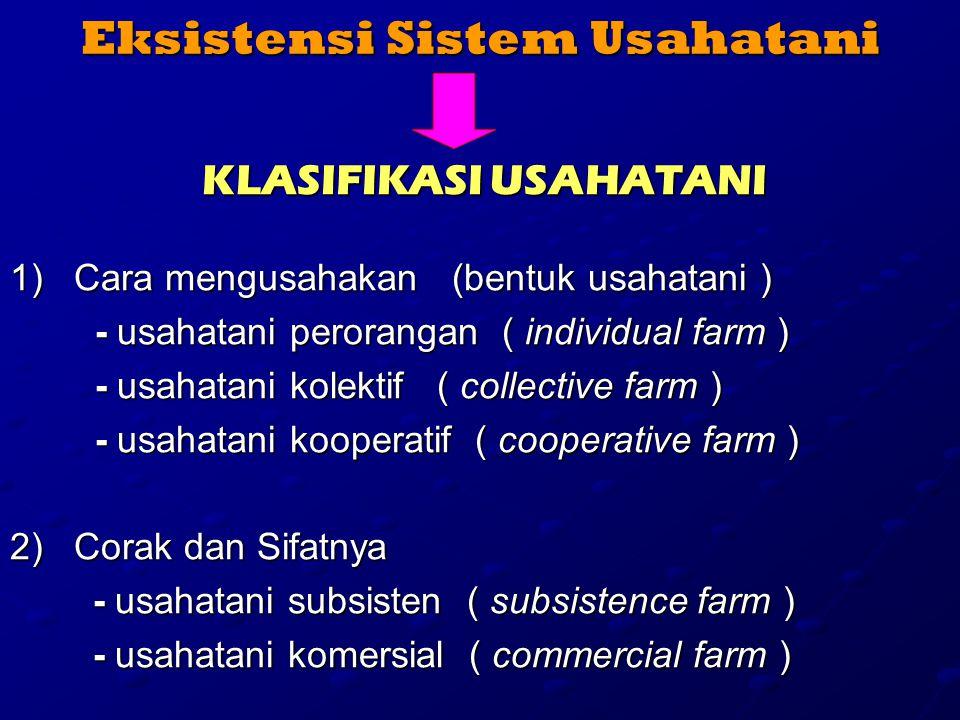 Eksistensi Sistem Usahatani