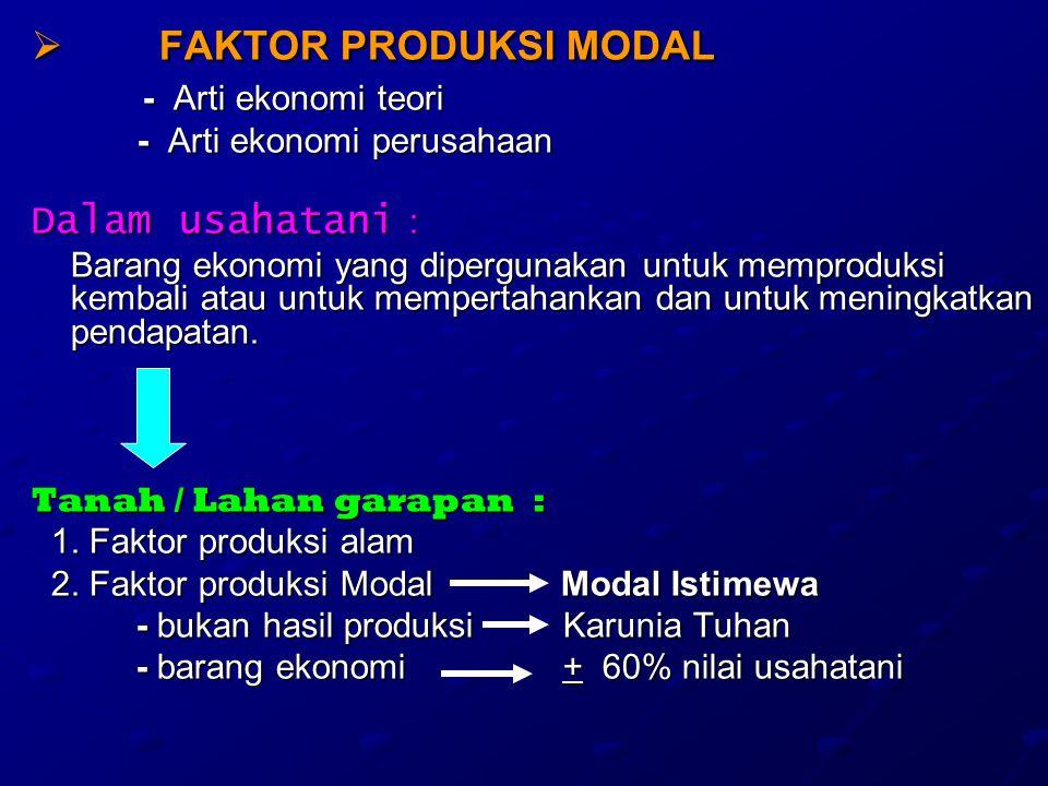 FAKTOR PRODUKSI MODAL Dalam usahatani : - Arti ekonomi perusahaan