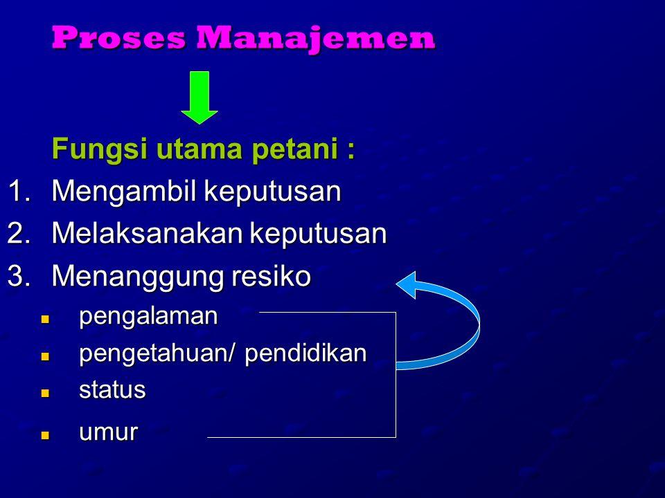 Proses Manajemen Fungsi utama petani : Mengambil keputusan
