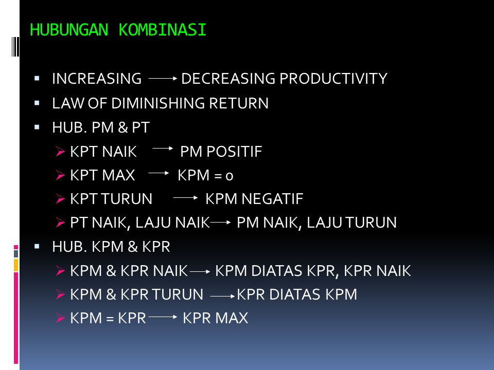 HUBUNGAN KOMBINASI INCREASING DECREASING PRODUCTIVITY