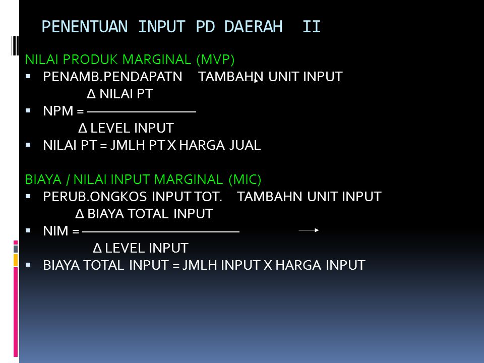 PENENTUAN INPUT PD DAERAH II