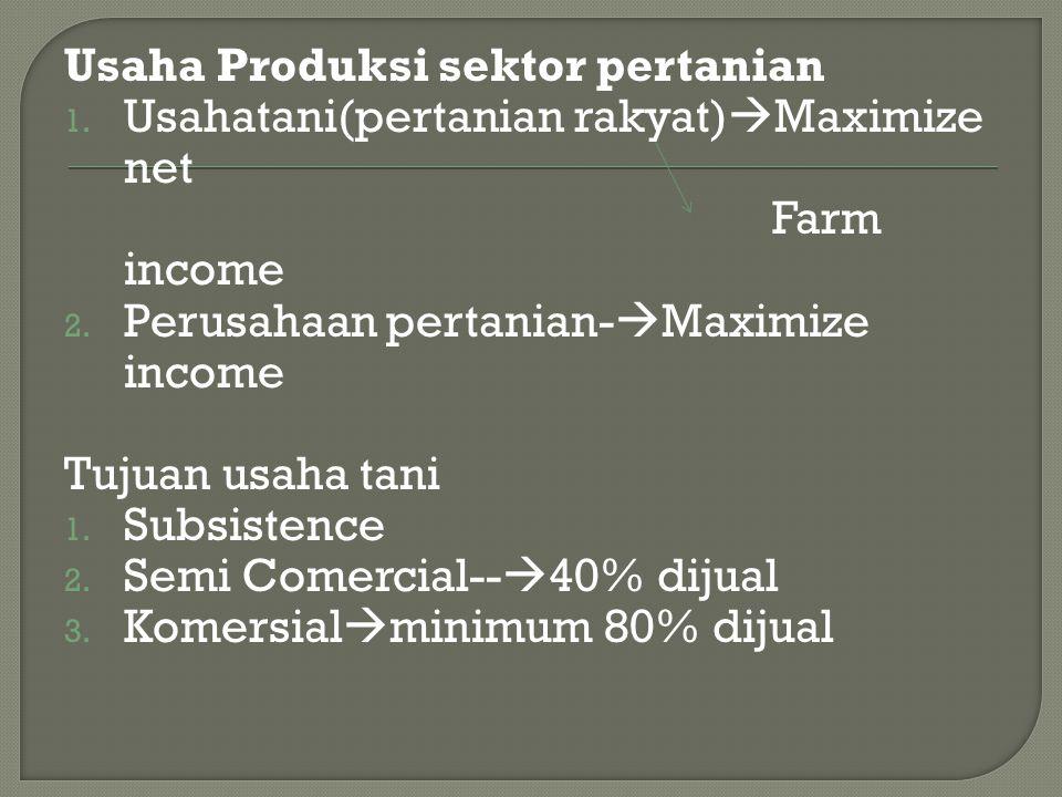 Usaha Produksi sektor pertanian