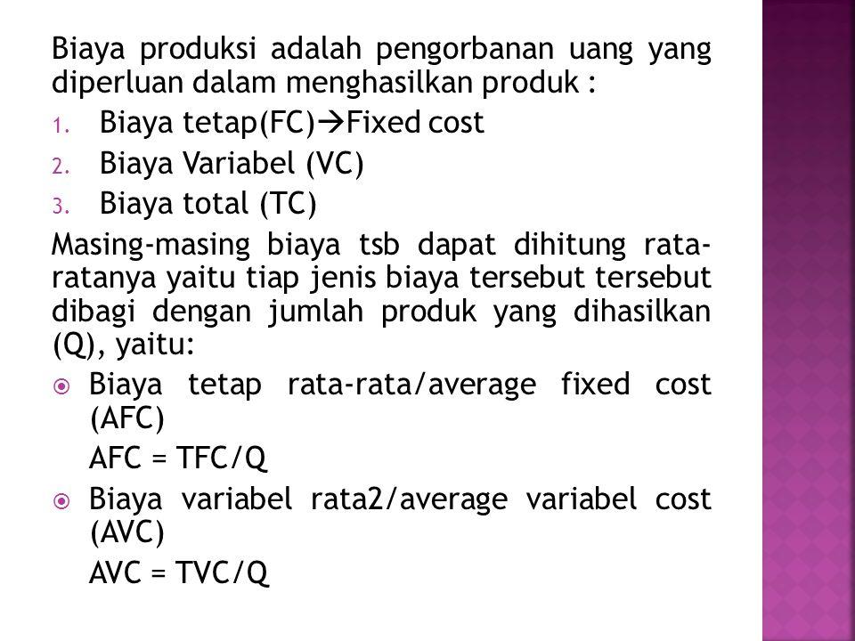 Biaya produksi adalah pengorbanan uang yang diperluan dalam menghasilkan produk :