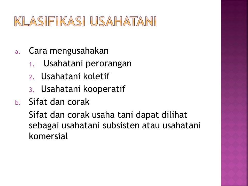 Klasifikasi usahatani