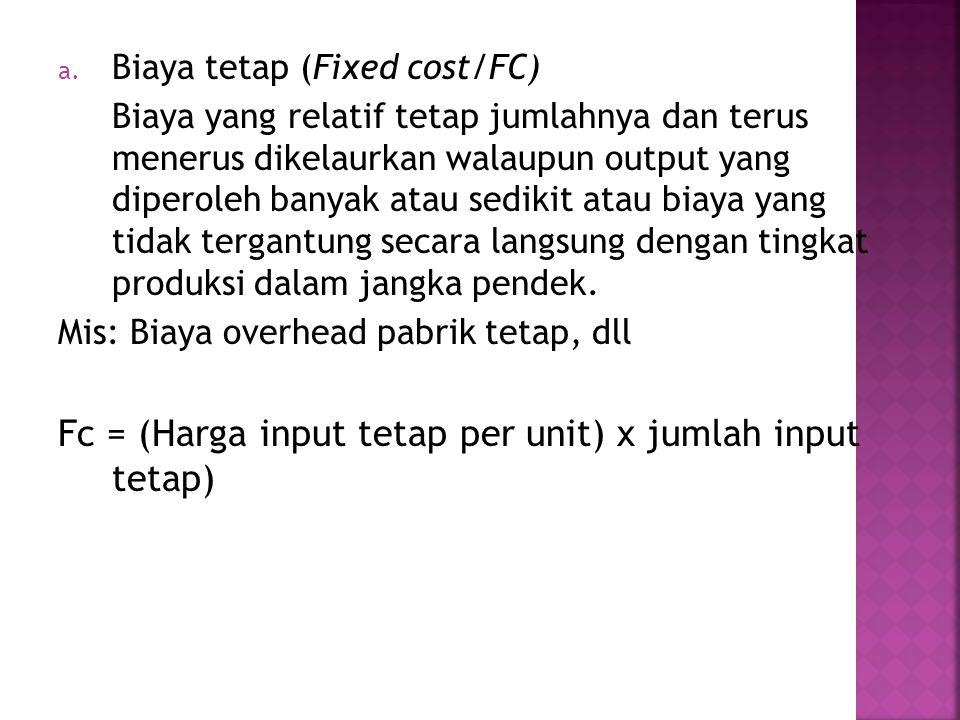 Fc = (Harga input tetap per unit) x jumlah input tetap)