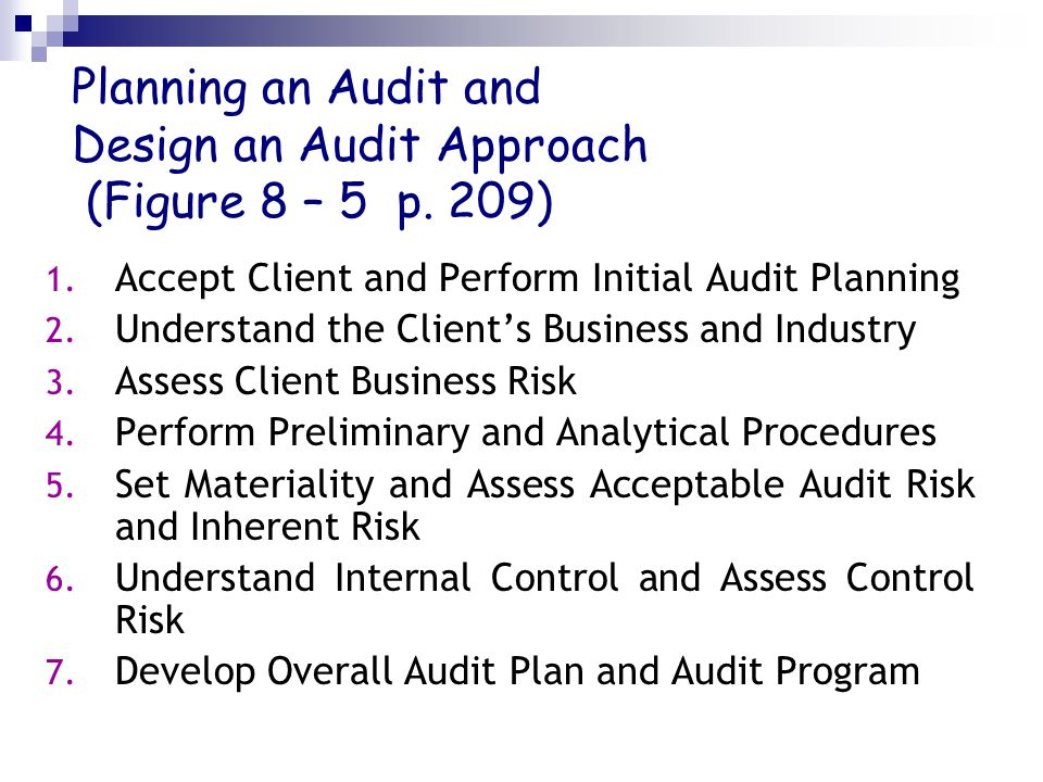 Planning an Audit and Design an Audit Approach (Figure 8 – 5 p. 209)