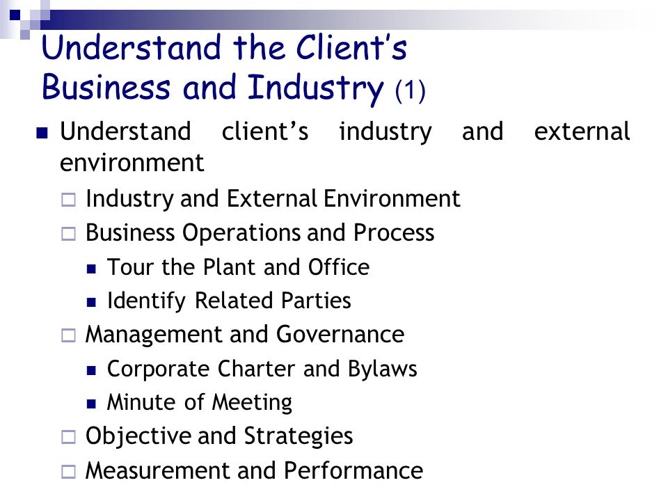 Understand the Client's Business and Industry (1)