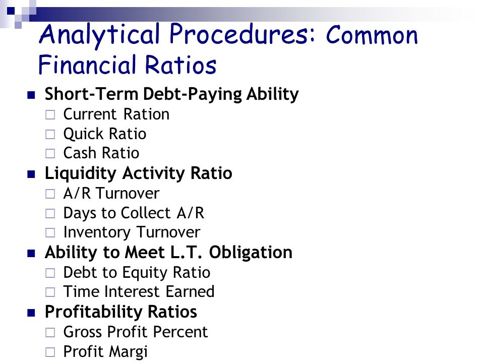 Analytical Procedures: Common Financial Ratios